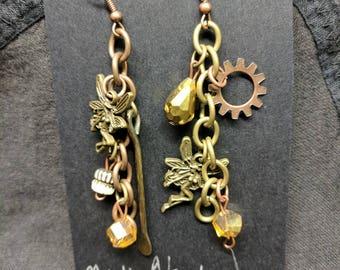 Tribal earrings, Tribal jewelry, Hippie earrings, hippie jewelry, fairy earrings, fairy jewelry, Tribal, asymmetrical, gear earrings, gears
