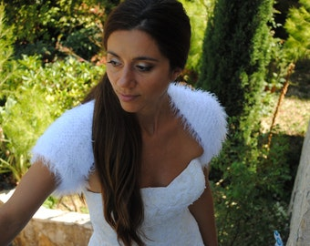 Bridal shrug-wedding shrug-faux fur wedding bolero-white bridal shrug- short sleeve sweater-faux fur wedding shrug, bridesmaid shrug