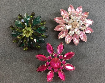 Three Vintage Rhinestone Brooches-Pink and Green .  Free shipping