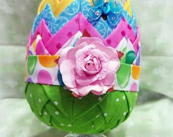 Easter Egg | Easter Egg Display | Easter Decor | Easter Egg Decoration | Quilted Ornament | Quilted Easter Egg | Spring Decor | Paper Rose