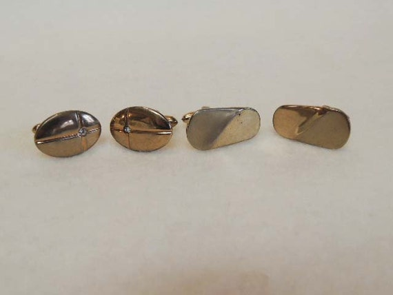 2 Sets Of Goldtone Men's Cufflinks From 1960's.. SWANK