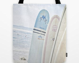 Blue and Pink Surfboards on the Beach 18 x 18 Tote Bag * SALE* Last One