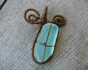 Genuine sea glass, aqua sea foam, Birthday gift, sea glass pendant, sea glass jewelry, brown copper wire, wire wrapped pendant, sea stone