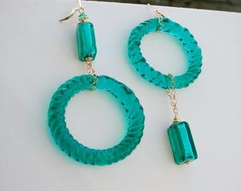Green Murano Glass Earrings, Mismatched Earrings
