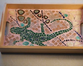 Lizard Mosaic Tea Tray