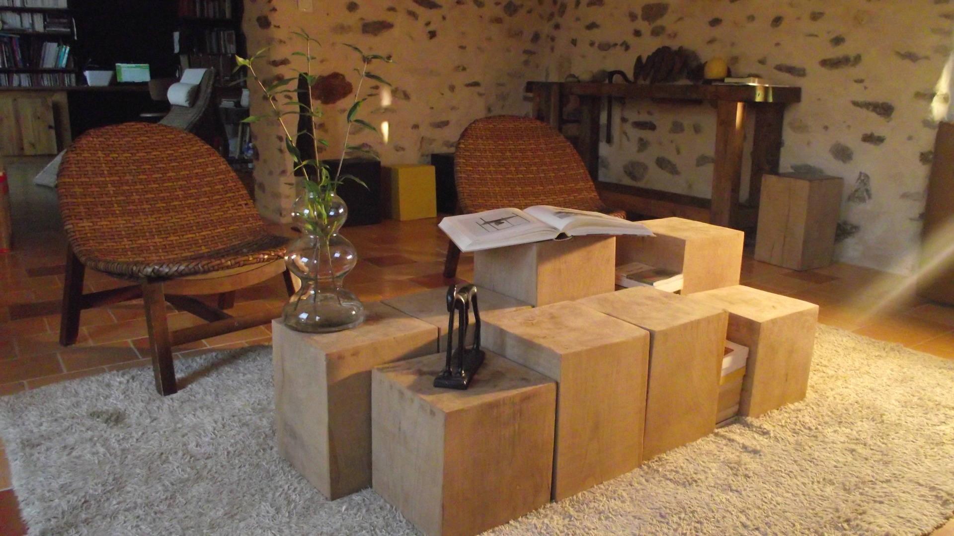 Bien-aimé Table basse de salon APHRODITE : 8 bouts de canapé bois massif SJ02