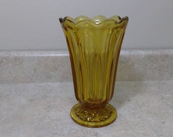 Vintage 1970's Fairfield Amber Heavy Glass Flower Footed Vase Anchor Hoking 1970's