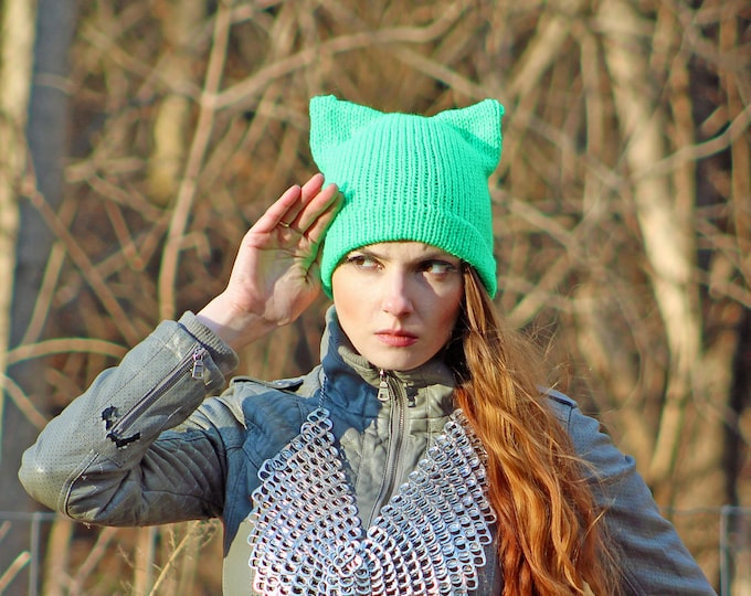 Green Pussy Cat Hat Climate March Earth Day ! March For Science Kitten Ear Political Gift Protest Resist Trump Anti War Eco Warrior Party