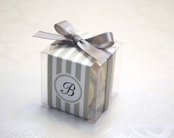 Grey French Macaron Boxes, Grey Ties, Wedding Favor Boxes - 24 Grey Favor Boxes