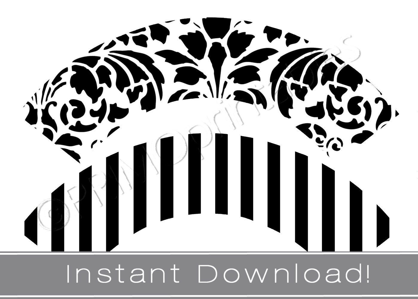 Printable Cupcake Wrappers Instant Download Black And White