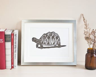 Turtle, original linocut print, limited edition, animal illustation, art, handmade, black white, printmaking, linoprint, wall deco
