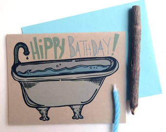 Hippy Bathday Greeting Card