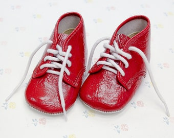 1950s La Parisette Red Leather Shoes for Baby, Vintage Baby Girl Shoes, Retro Baby Booties, Crib Shoes, Infant Shoes, Birthday Gift for Baby