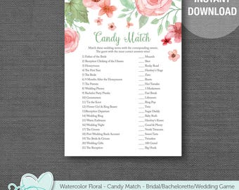 Watercolor Floral Candy Match Game Printable, Instant Download, Bridal Shower Game, Bachelorette Party Game, Lingerie Shower, Wedding, 005A