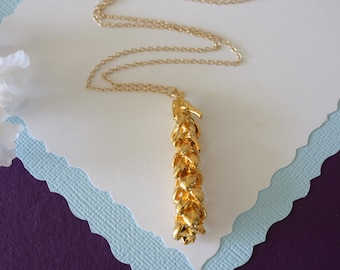 Gold Pine Tip Necklace, Gold, Real Pine Tip, Gold Pine Tip, Pine, Long Layered Gold Necklace, PC12