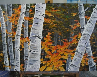 Commission - 24x36 Autumn Birch Tree in Orange, Heavy Texture Painting on Gallery Canvas by J. Mandrick