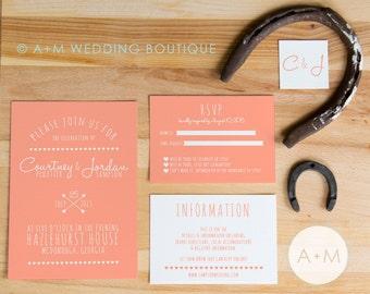 Wedding Invitation set, Boho Wedding Invitation, Printable Invitations, Chic invitation set : COURTNEY