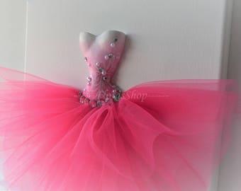 "Bright pink canvas  wall art ""Summer Garden"". Nursery decor in pink. A single 10x10 tutu dress wall accessory."