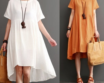 Women round neck maxi dress summer cotton blouse tunic dress cotton pleated dress linen dress women linen clothing plus size clothing