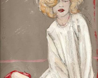 THE RED SHOE, Fashion illustration, Marilyn style, Blonde girl,  Art print, Home decor, Digital Photo Print,
