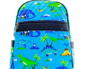 Personalized Boys Quilted  Backpack   DINOSAUR Backpack  Boys Bookbag  Preschool backpack