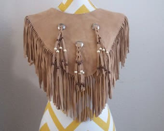 Vintage HB Brown Suede Fringed Leather Vest Shawl Native American design Made in USA