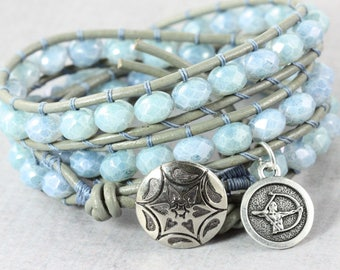 Zodiac Jewelry, Sagittarius Bracelet, December Birthday, Blue Wrap Bracelet, Horoscope Jewelry, Astrological Signs, Sagittarius Jewelry