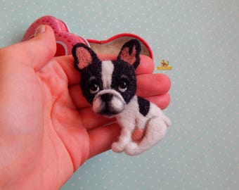 Christmas gifts Miniature animal Felted pet French bulldog felt brooch Dog lover gift bulldog miniature dog lover gifts Felt Dog ornament