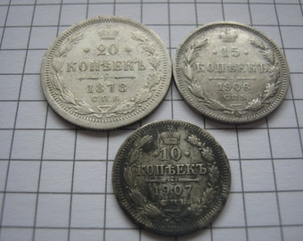 Silver coins of 1878 1907 1906