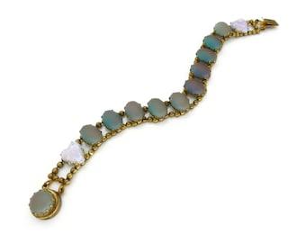Antique Art Deco Saphiret & Opalescent Heart Glass Cabochon Bracelet