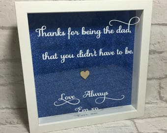 Father's Day frame, Step-Dad, Gift, Handmade, Box Frame, Personalised, Personalised Gift, Father's Day Gift, Step-Dad Gift, Fathers Day