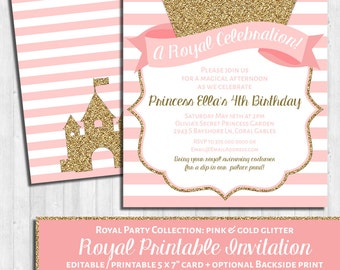 INSTANT DOWNLOAD: Princess Invitation, Pink & Gold Glitter, Blush Royal Party Printable Invite, First Birthday, Party or Baby Shower!