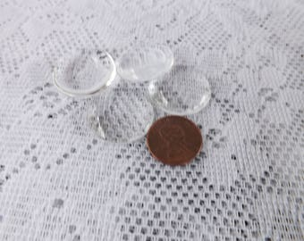 10 25mm Glass Cabochon - 1 Inch Cabochon - Glass Round Circle Cabochon Flat Cabochons  Clear Flat Glass