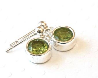 Peridot Earrings, Silver Dangle Earrings, Green Earrings, Silver Post Earrings, Sterling Silver Jewelry, Birthstone Jewelry for Her