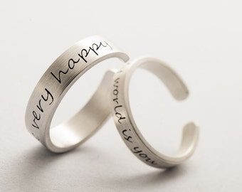 picture script plate finger rings jewelry love name ring two nameplate