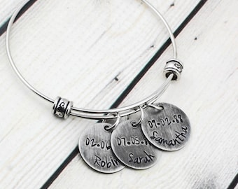 Personalized Mom Bangle Bracelet - Custom Mom Bracelet with Kid Name and Birthdate - Hand Stamped Mother Bracelet  - Rustic Mom Jewelry