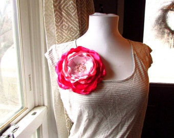 Oversized flower pin etsy more colors extra large brooch silk fabric flower pin mightylinksfo