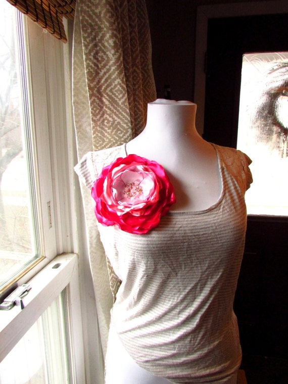 Extra large brooch silk fabric flower pin handmade gift women mightylinksfo