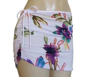 "Beach cover up ""Print"", drawstring skirt, short skirt, bikini cover-up, beach clothing, swim skirt."