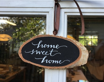 """Hand-Lettered """"Home Sweet Home"""" small chalkboard style sign on birch ooak"""