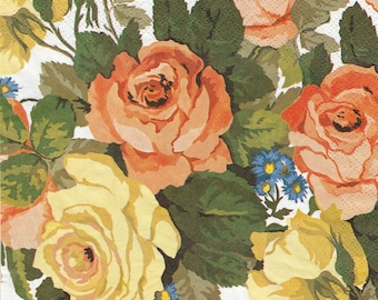 251 LES ROSES pattern X 4 1 lunch size paper towel