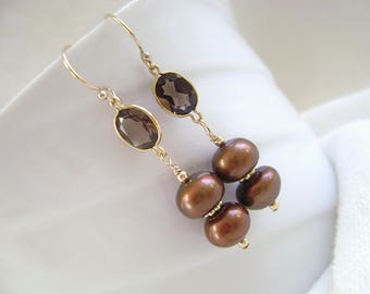 Smoky Quartz Earrings, Freshwater Pearls, Cultured Pearls, Gold Filled, Gold Vermeil, 1/20 14K Gold Filled, Chocolate Brown, Gemstones, 1054