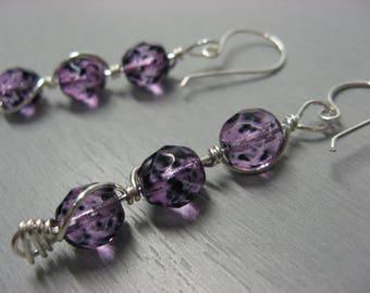 Fancy silver plated plum purple Stalactite earrings