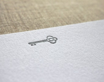 Flat Card Set with Letterpress Silver Key