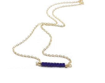 Sapphire Crystal Beaded Bar Pendant , Bar Pendant Necklace , Gold Chain Necklace , Blue Crystal Cubes , Gift For Her