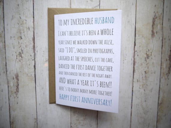 First anniversary card st anniversary husband card for