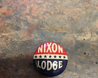 Vintage 1960's Nixon / Lodge Political Campaign Pin Pinback Button Elections