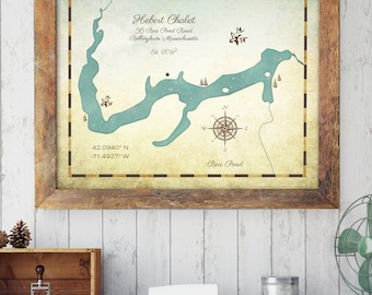 Lake House Decor, Lake House Sign, Custom Lake Map, Lake Decor, Custom Lake Map, Customized Lake Sign, Lakehouse Decor, Maps by Angie
