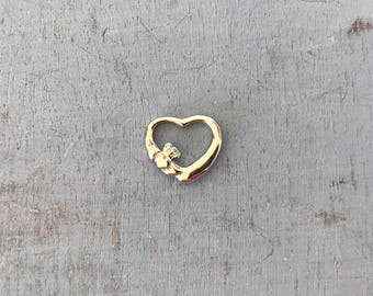 Small Claddagh Sterling Silver Floating Heart Pendant Charm 1g