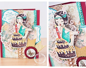 Digital stamp - Birthday  Girl. Birtdhay digital stamp.celebration digi stamp. Vintage digital stamp. Pin up girl digital stamp. LiaStampz